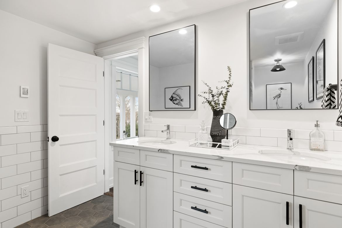 Open Concept Bathroom with Double Sink Vanity - NDA Kitchens